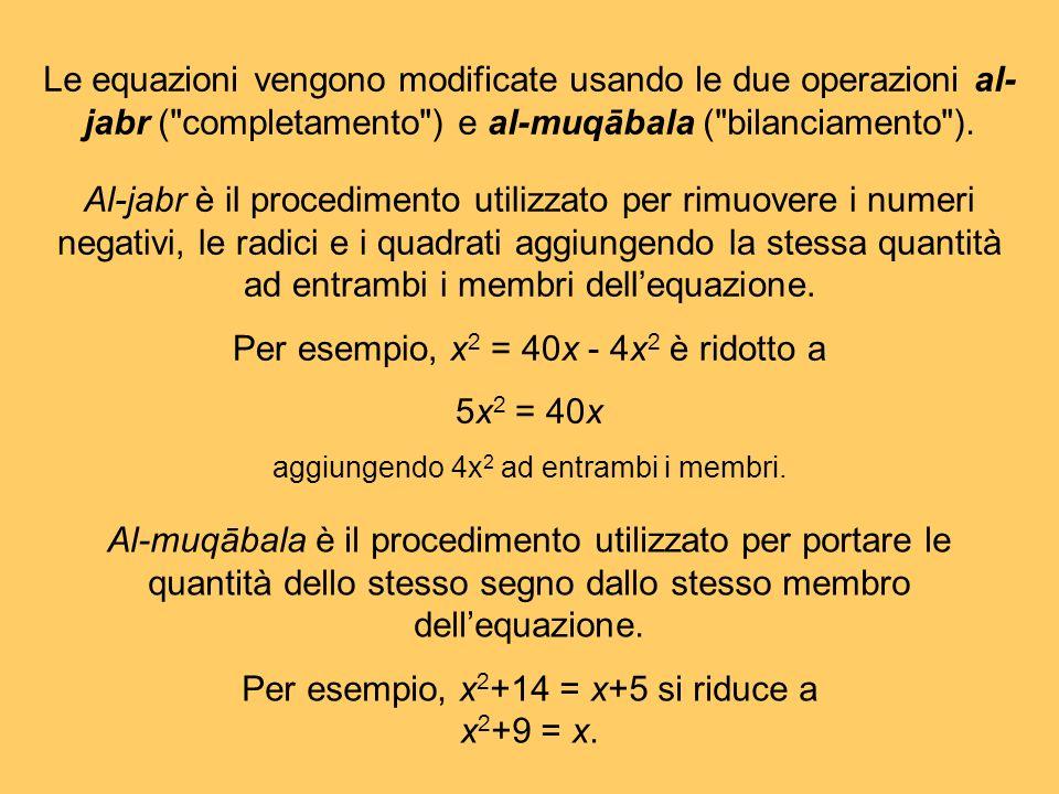 Al-muqābala è il procedimento utilizzato per portare le quantità dello stesso segno dallo stesso membro dellequazione. Per esempio, x 2 +14 = x+5 si r