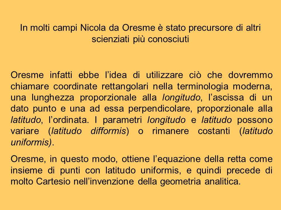 In molti campi Nicola da Oresme è stato precursore di altri scienziati più conosciuti Oresme infatti ebbe lidea di utilizzare ciò che dovremmo chiamar