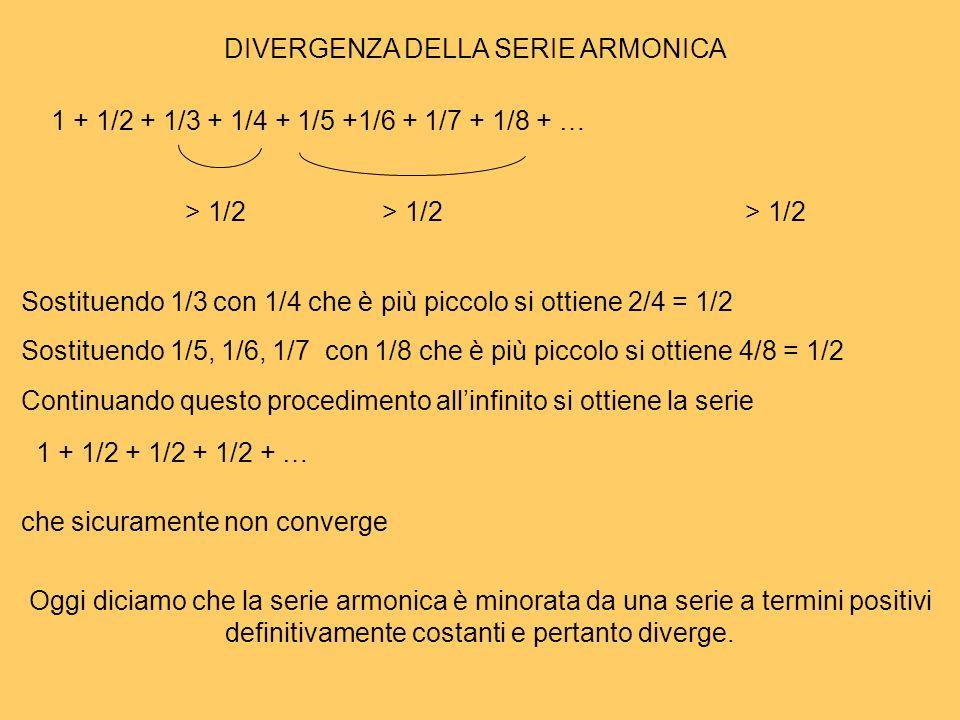 1 + 1/2 + 1/3 + 1/4 + 1/5 +1/6 + 1/7 + 1/8 + … > 1/2 Sostituendo 1/3 con 1/4 che è più piccolo si ottiene 2/4 = 1/2 Sostituendo 1/5, 1/6, 1/7 con 1/8