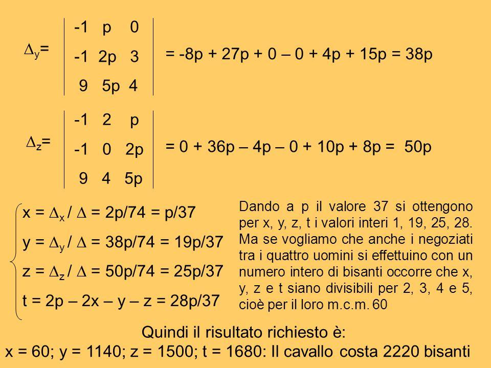 y = -1 p 0 -1 2p 3 9 5p 4 = -8p + 27p + 0 – 0 + 4p + 15p = 38p z = -1 2 p -1 0 2p 9 4 5p = 0 + 36p – 4p – 0 + 10p + 8p = 50p x = x / = 2p/74 = p/37 y