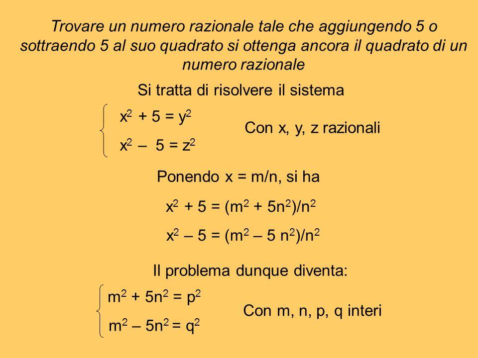 Trovare un numero razionale tale che aggiungendo 5 o sottraendo 5 al suo quadrato si ottenga ancora il quadrato di un numero razionale Si tratta di ri
