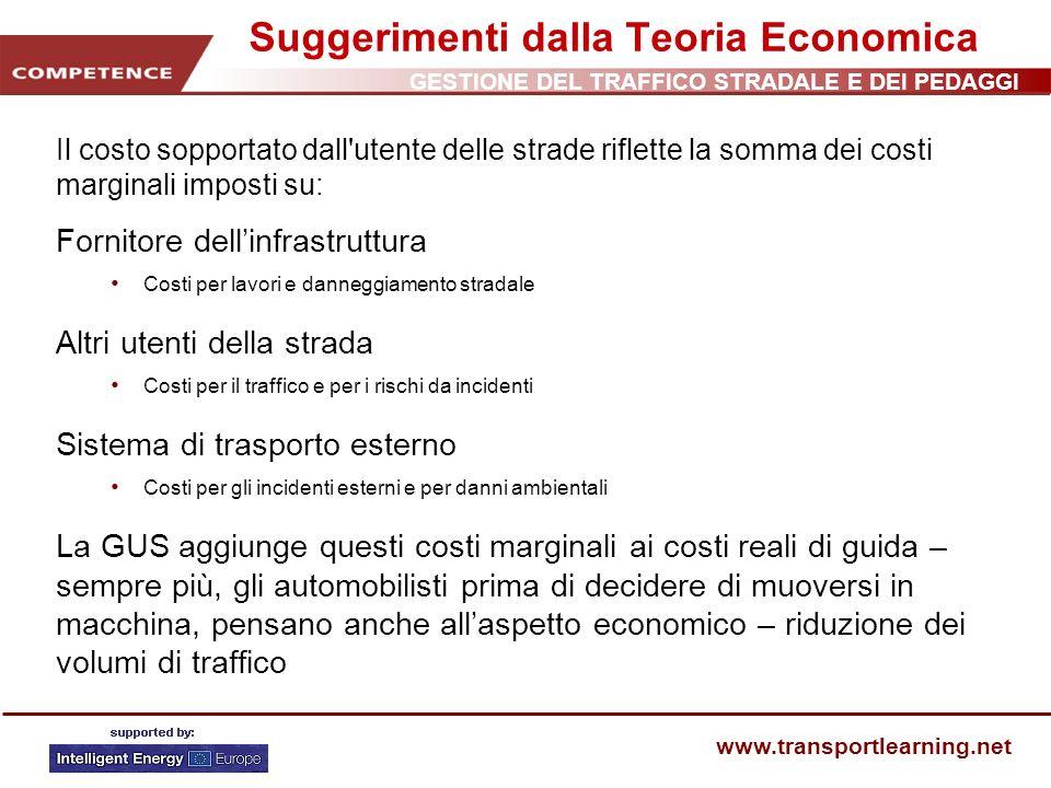 GESTIONE DEL TRAFFICO STRADALE E DEI PEDAGGI www.transportlearning.net Suggerimenti dalla Teoria Economica Il costo sopportato dall'utente delle strad