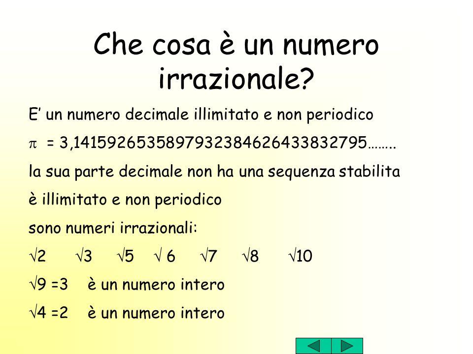 Che cosa è un numero irrazionale? E un numero decimale illimitato e non periodico = 3,1415926535897932384626433832795…….. la sua parte decimale non ha
