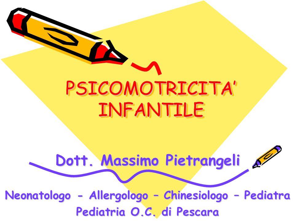 PSICOMOTRICITA INFANTILE Dott. Massimo Pietrangeli Neonatologo - Allergologo – Chinesiologo – Pediatra Pediatria O.C. di Pescara