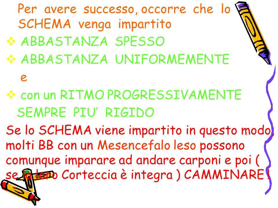 Per avere successo, occorre che lo SCHEMA venga impartito ABBASTANZA SPESSO ABBASTANZA UNIFORMEMENTE e con un RITMO PROGRESSIVAMENTE SEMPRE PIU RIGIDO