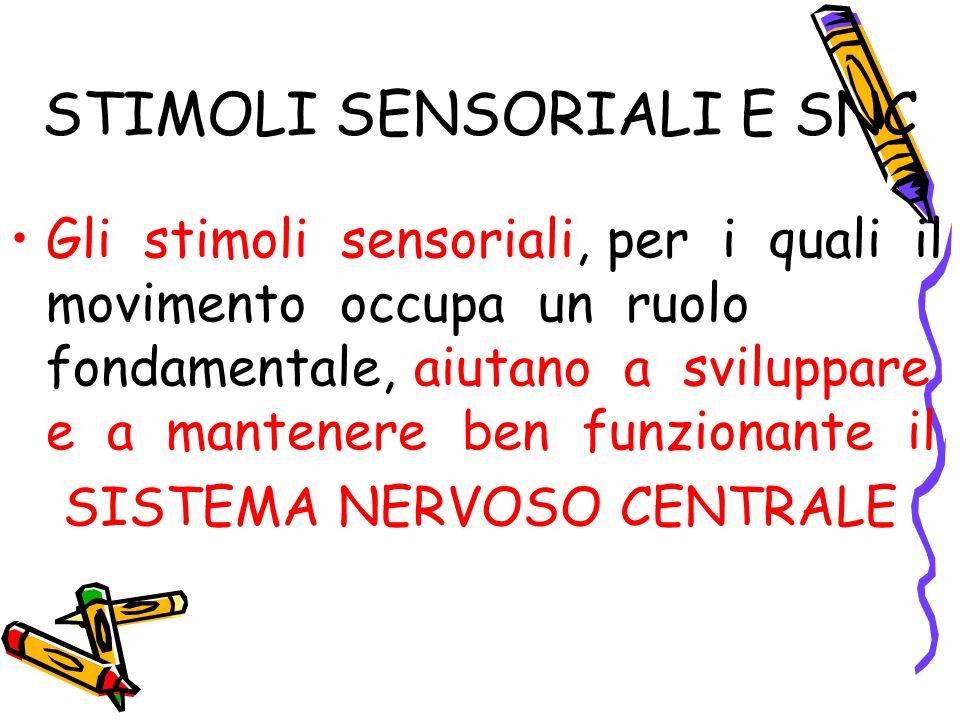 STIMOLI SENSORIALI E SNC Gli stimoli sensoriali, per i quali il movimento occupa un ruolo fondamentale, aiutano a sviluppare e a mantenere ben funzion