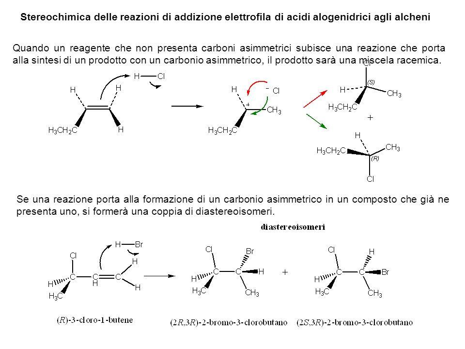 Se, come risultato di una reazione di addizione che passa attraverso un intermedio carbocationico, si creano due carboni asimmetrici, si ottengono come prodotti della reazione quattro stereoisomeri.