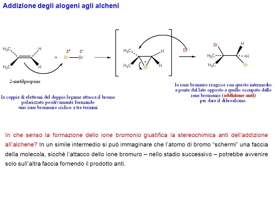 Se in seguito ad una reazione di addizione che presenta come intermedio uno ione alonio ciclico si formano due carboni asimmetrici, si formerà ununica coppia di enantiomeri.