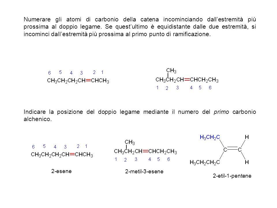 In maniera simile si denominano i cicloalcheni, non esistendo però in essi il punto di inizio di una catena, si denominano in modo che il doppio legame si trovi tra C1 e C2 e che il primo sostituente abbia il più piccolo numero possibile.
