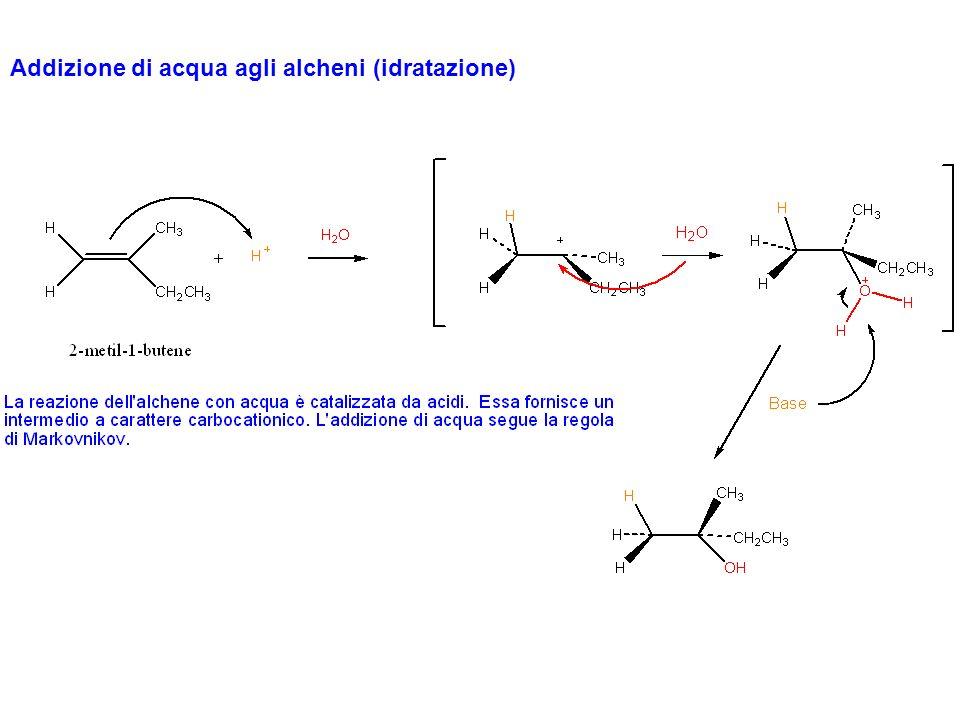 Quali sono le coppie di alcheni che, tramite una reazione di idratazione acido catalizzata, formano come prodotto principale ognuno dei seguenti alcoli?