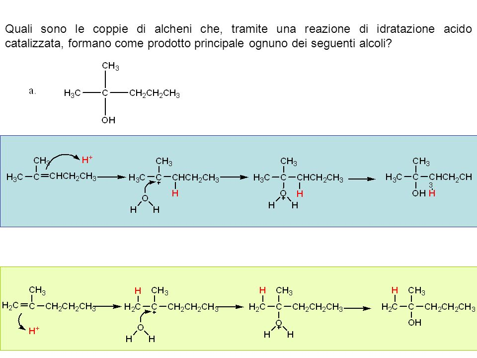Quali sono le coppie di alcheni che, tramite una reazione di idratazione acido catalizzata, formano come prodotto principale ognuno dei seguenti alcol
