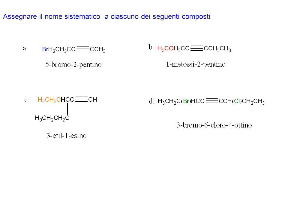 Addizione di acidi alogenidrici agli alchini Se lalchino è terminale, lH + si addiziona al carbonio sp legato allidrogeno poiché il catione vinilico risultante è più stabile del catione vinilico primario che si formerebbe se lH + si legasse allaltro carbonio sp.