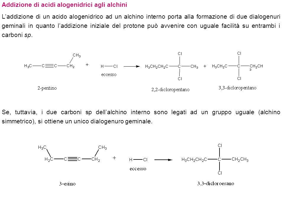 Addizione di alogeni agli alchini Laddizione di una mole di X 2 (X = Cl o Br) forma un dialogenuro trans, che può reagire con un seconda mole di X 2 per dare un tetralogenuro.