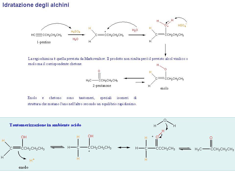 Scrivere lintermedio enolico ed il prodotto chetonico che si formano nella seguente reazione Da svolgere… Quale alchino rappresenta il reagente migliore per la sintesi di ciascuno dei seguenti chetoni?