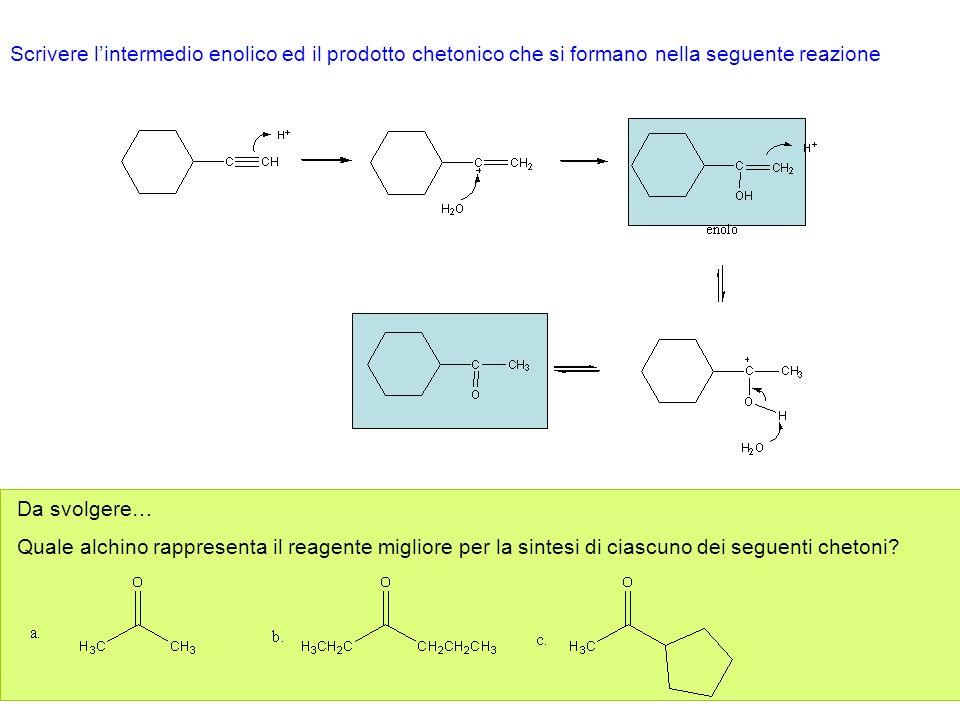 Addizione di idrogeno Gli alchini interni possono essere trasformati in alcheni trans utilizzando sodio (o litio) in ammoniaca liquida.