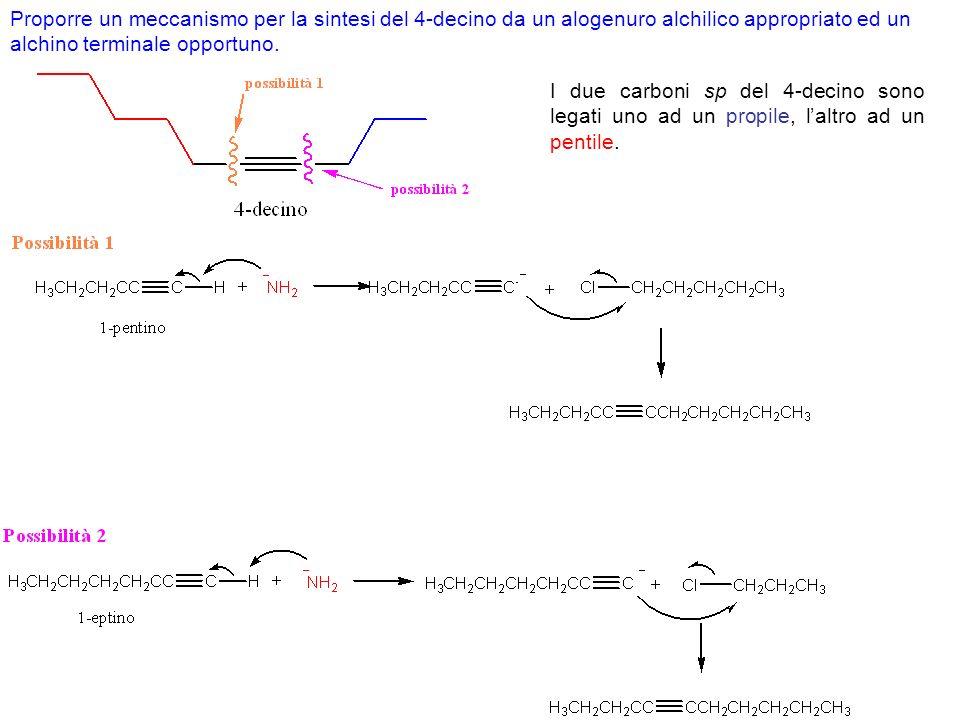 Esercizio. Come è possibile sintetizzare il seguente chetone a partire dall1-butino? Continua…