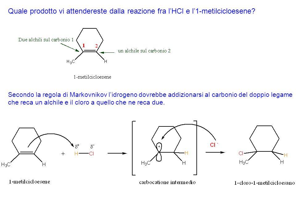 Quale prodotto vi attendereste dalla reazione fra lHBr e il 2-pentene?