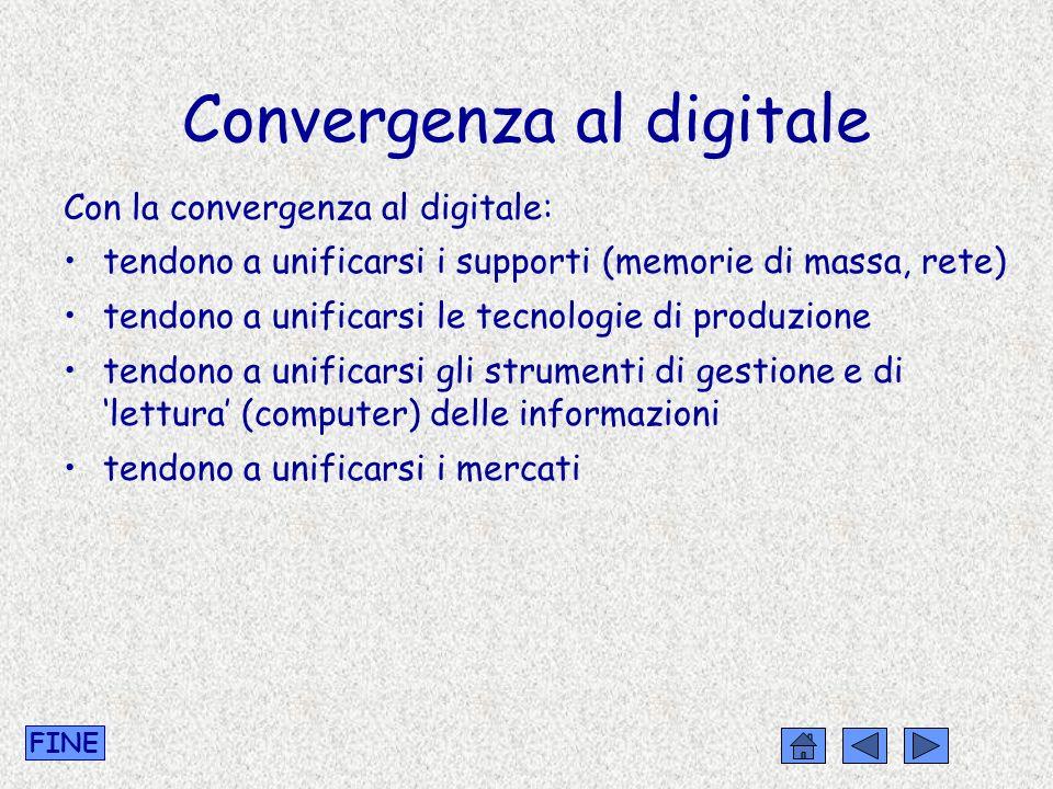 Convergenza al digitale Con la convergenza al digitale: tendono a unificarsi i supporti (memorie di massa, rete) tendono a unificarsi le tecnologie di