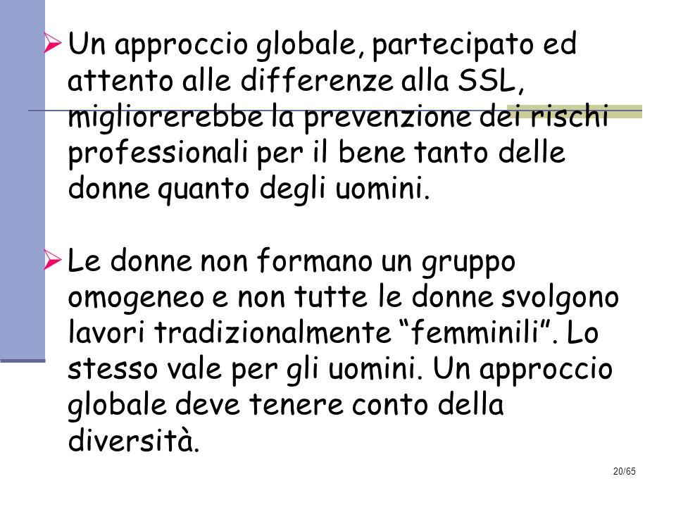 19/65 PRINCIPALI CONCLUSIONI DELLA RELAZIONE Le differenze di genere nelle condizioni di lavoro si ripercuotono sulle differenze di genere nelle conse