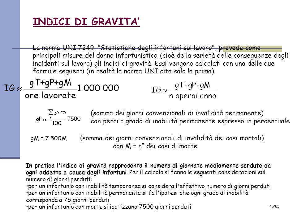 45/65 INDICI DI FREQUENZA La dimensione del rischio infortunistico si misura attraverso gli indici di frequenza, presi in esame anche dalla norma UNI