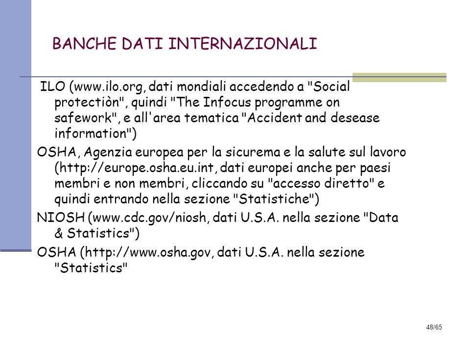 47/65 BANCHE DATI Nel sito ISPESL, www.ispesl.it, accedendo alla sezione