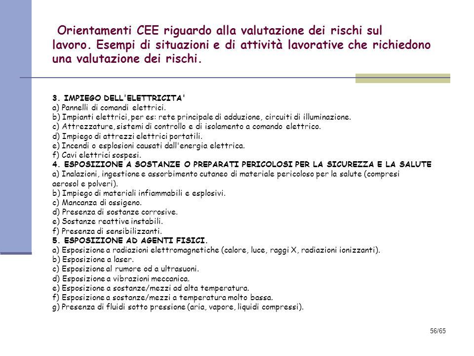55/65 Orientamenti CEE riguardo alla valutazione dei rischi sul lavoro. Esempi di situazioni e di attività lavorative che richiedono una valutazione d