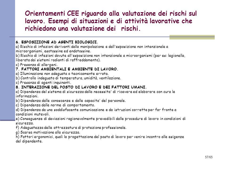 56/65 Orientamenti CEE riguardo alla valutazione dei rischi sul lavoro. Esempi di situazioni e di attività lavorative che richiedono una valutazione d
