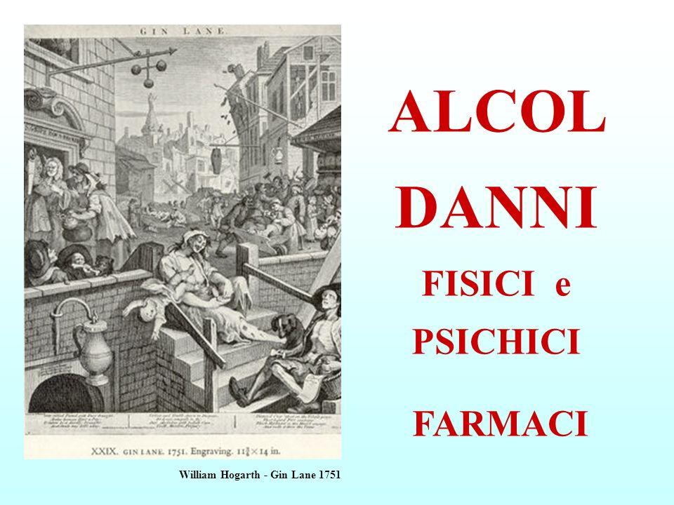 ALCOL DANNI FISICI e PSICHICI FARMACI William Hogarth - Gin Lane 1751