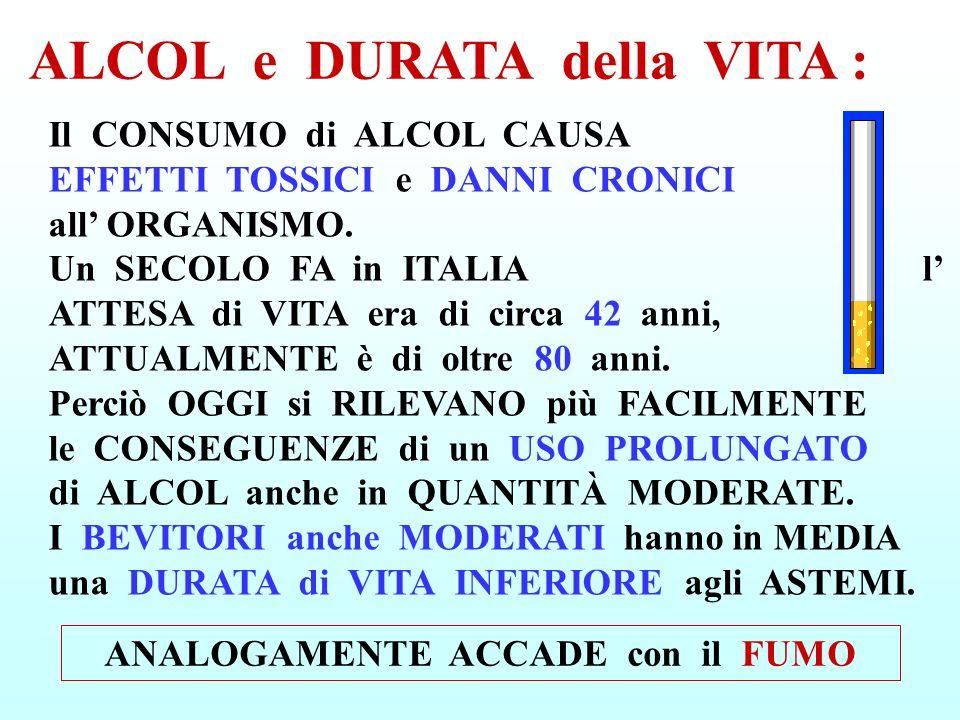 Il CONSUMO di ALCOL CAUSA EFFETTI TOSSICI e DANNI CRONICI all ORGANISMO. Un SECOLO FA in ITALIA l ATTESA di VITA era di circa 42 anni, ATTUALMENTE è d