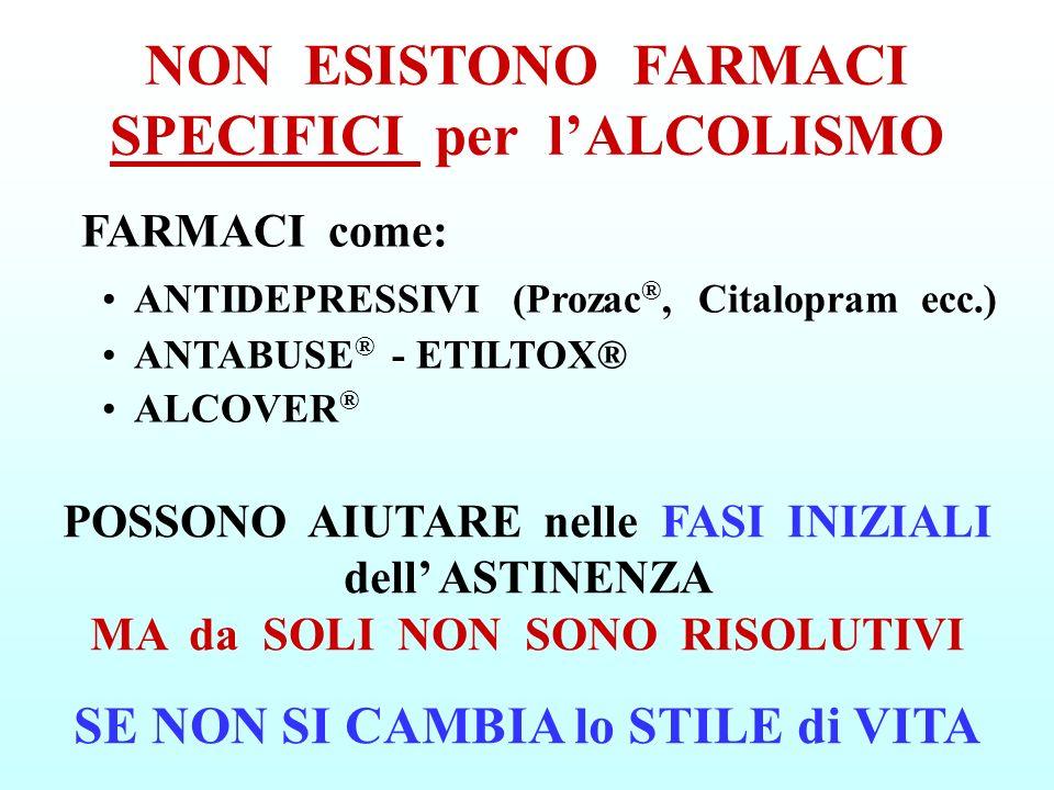 NON ESISTONO FARMACI SPECIFICI per lALCOLISMO FARMACI come: ANTIDEPRESSIVI (Prozac ®, Citalopram ecc.) ANTABUSE ® - ETILTOX® ALCOVER ® POSSONO AIUTARE