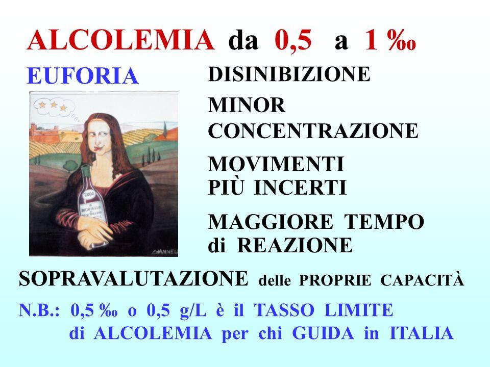 EUFORIA ALCOLEMIA da 0,5 a 1 N.B.: 0,5 o 0,5 g/L è il TASSO LIMITE di ALCOLEMIA per chi GUIDA in ITALIA MINOR CONCENTRAZIONE MOVIMENTI PIÙ INCERTI MAG