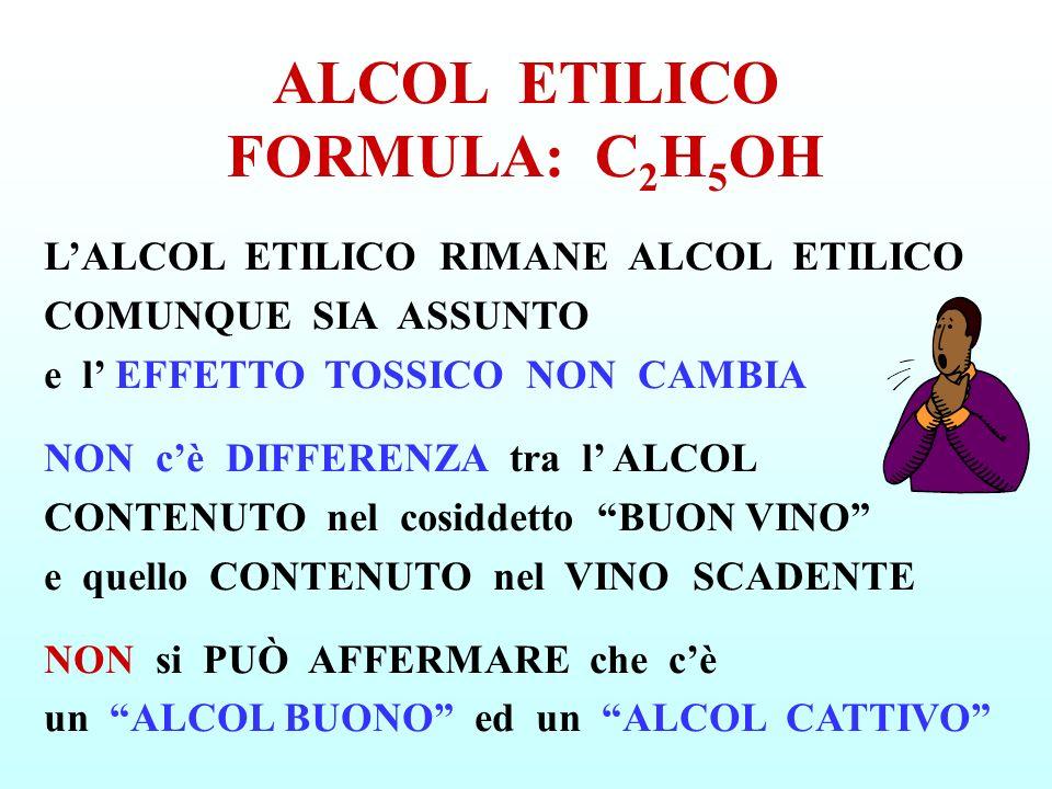 LALCOL ETILICO RIMANE ALCOL ETILICO COMUNQUE SIA ASSUNTO e l EFFETTO TOSSICO NON CAMBIA NON cè DIFFERENZA tra l ALCOL CONTENUTO nel cosiddetto BUON VI