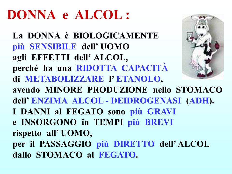 DONNA e ALCOL : La DONNA è BIOLOGICAMENTE più SENSIBILE dell UOMO agli EFFETTI dell ALCOL, perché ha una RIDOTTA CAPACITÀ di METABOLIZZARE l ETANOLO,