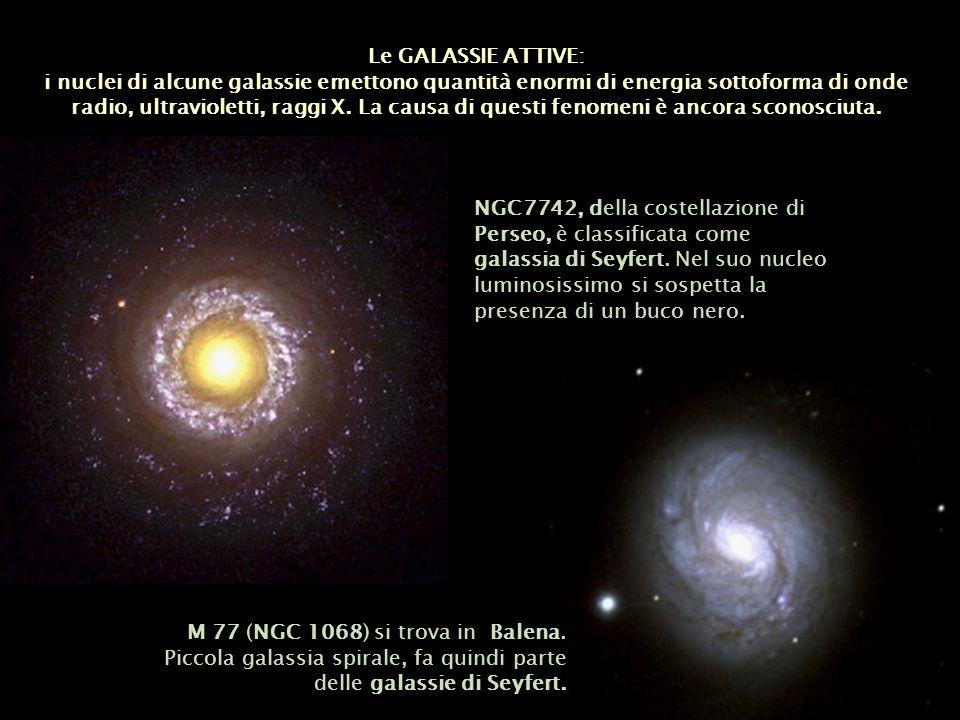 Le GALASSIE ATTIVE: i nuclei di alcune galassie emettono quantità enormi di energia sottoforma di onde radio, ultravioletti, raggi X. La causa di ques