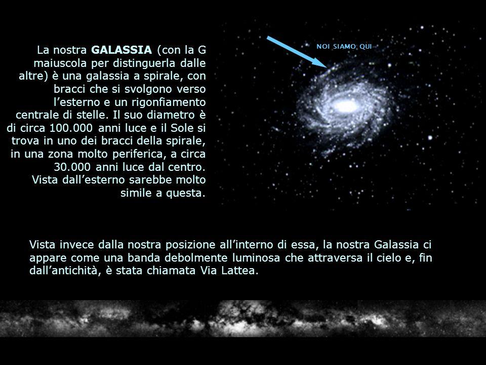 La nostra GALASSIA (con la G maiuscola per distinguerla dalle altre) è una galassia a spirale, con bracci che si svolgono verso lesterno e un rigonfia