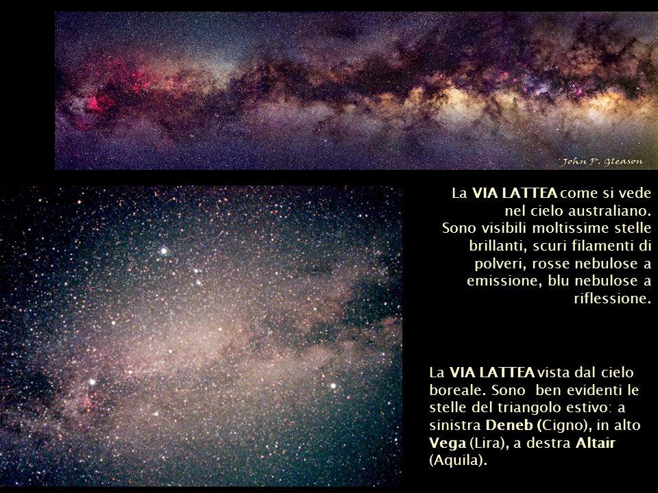 La VIA LATTEA vista dal cielo boreale. Sono ben evidenti le stelle del triangolo estivo: a sinistra Deneb (Cigno), in alto Vega (Lira), a destra Altai
