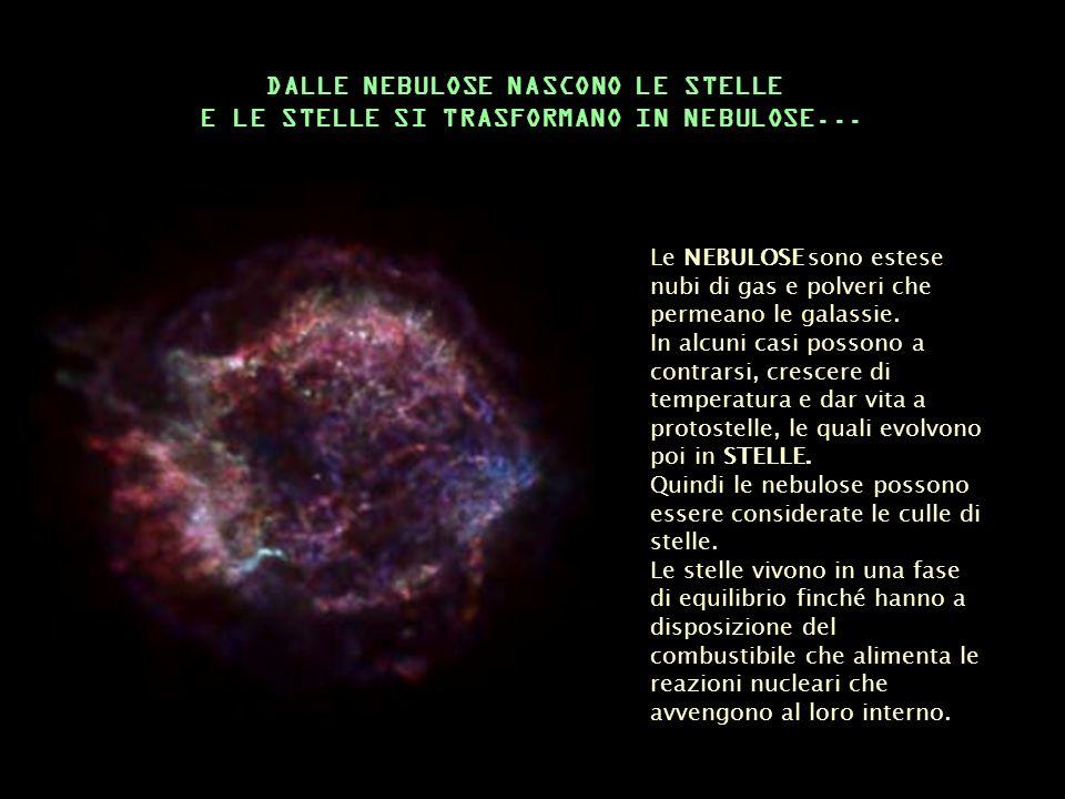 Le NEBULOSE sono estese nubi di gas e polveri che permeano le galassie. In alcuni casi possono a contrarsi, crescere di temperatura e dar vita a proto
