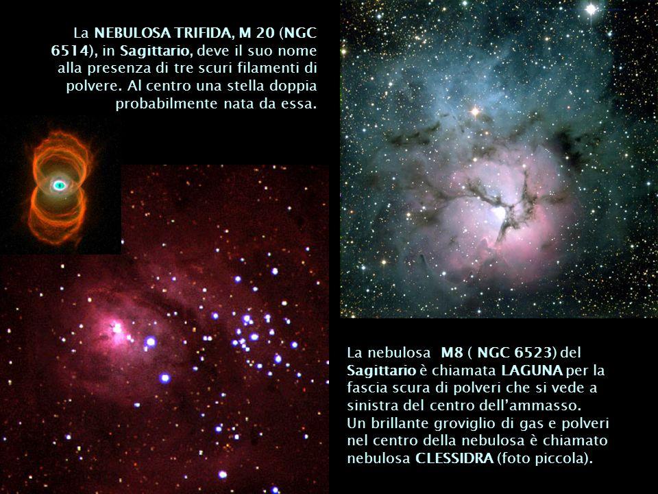 La NEBULOSA TRIFIDA, M 20 (NGC 6514), in Sagittario, deve il suo nome alla presenza di tre scuri filamenti di polvere. Al centro una stella doppia pro