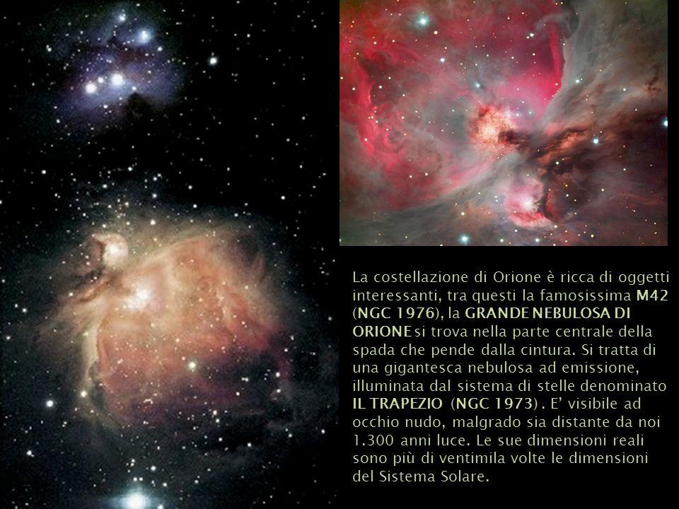La costellazione di Orione è ricca di oggetti interessanti, tra questi la famosissima M42 (NGC 1976), la GRANDE NEBULOSA DI ORIONE si trova nella part
