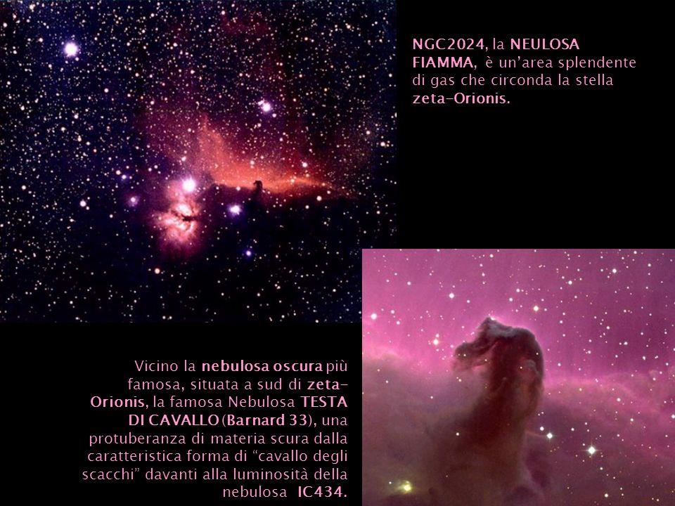 NGC2024, la NEULOSA FIAMMA, è unarea splendente di gas che circonda la stella zeta-Orionis. Vicino la nebulosa oscura più famosa, situata a sud di zet