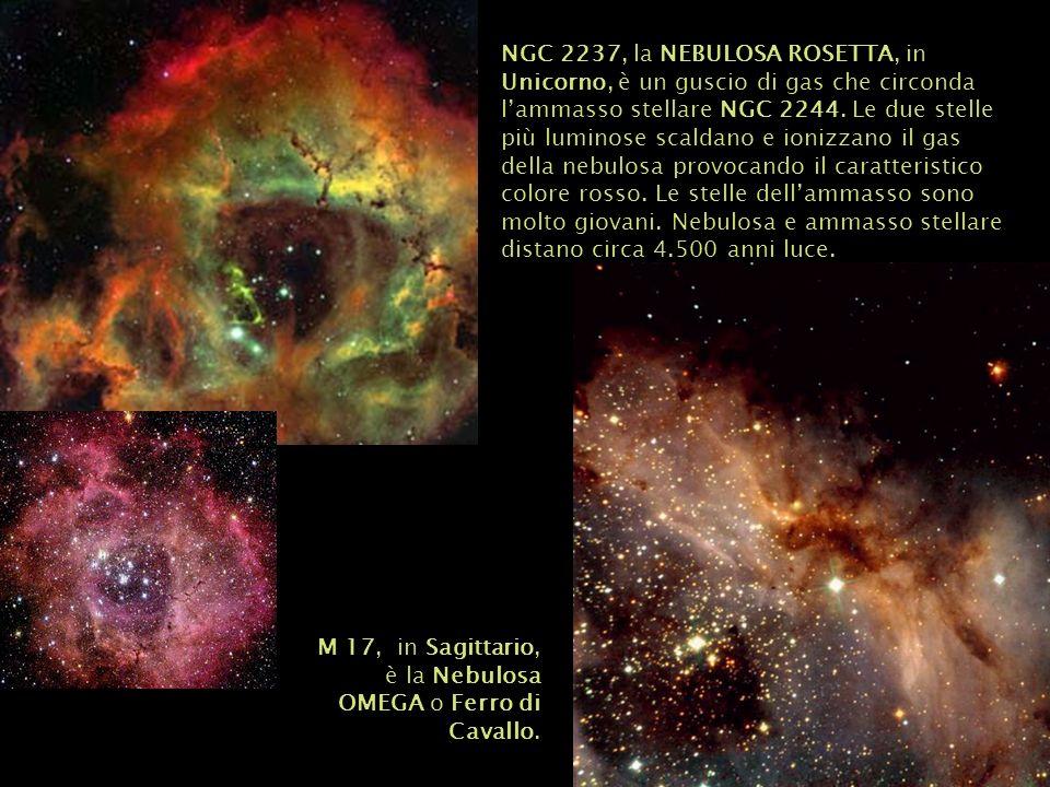 NGC 2237, la NEBULOSA ROSETTA, in Unicorno, è un guscio di gas che circonda lammasso stellare NGC 2244. Le due stelle più luminose scaldano e ionizzan