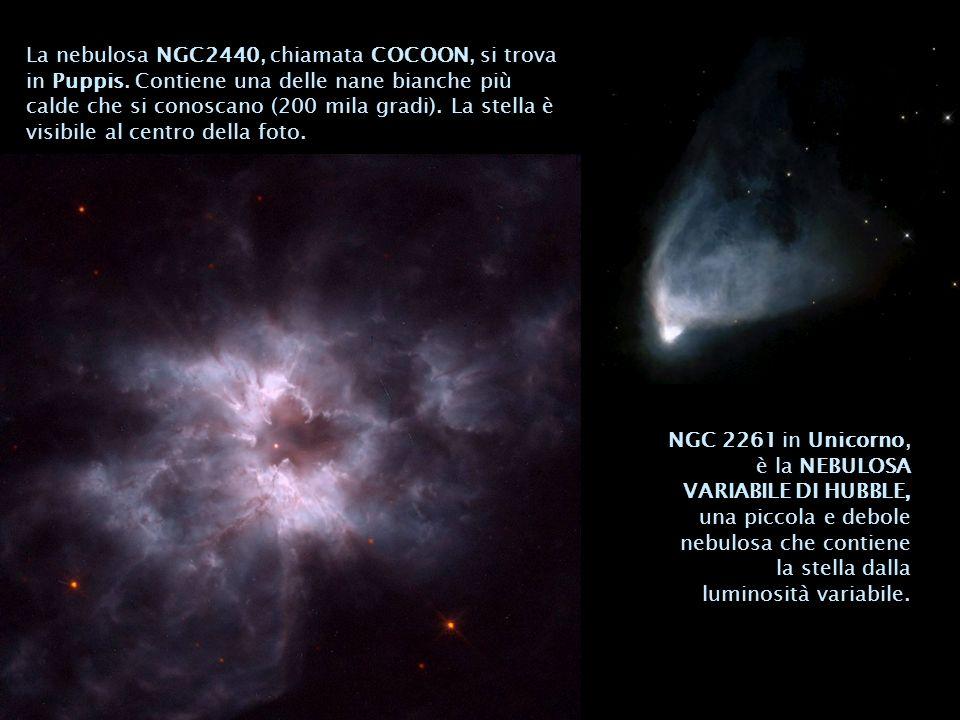 NGC 2261 in Unicorno, è la NEBULOSA VARIABILE DI HUBBLE, una piccola e debole nebulosa che contiene la stella dalla luminosità variabile. La nebulosa