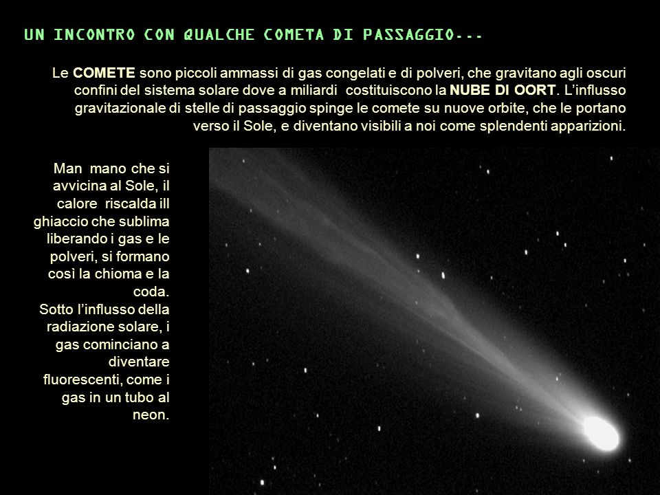 Le COMETE sono piccoli ammassi di gas congelati e di polveri, che gravitano agli oscuri confini del sistema solare dove a miliardi costituiscono la NU