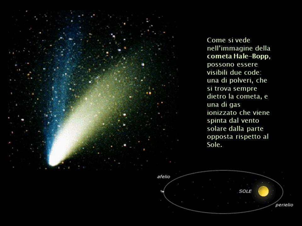 Come si vede nellimmagine della cometa Hale-Bopp, possono essere visibili due code: una di polveri, che si trova sempre dietro la cometa, e una di gas