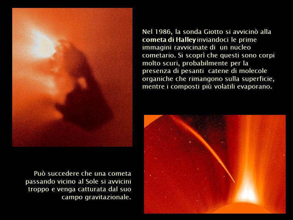 Può succedere che una cometa passando vicino al Sole si avvicini troppo e venga catturata dal suo campo gravitazionale. Nel 1986, la sonda Giotto si a