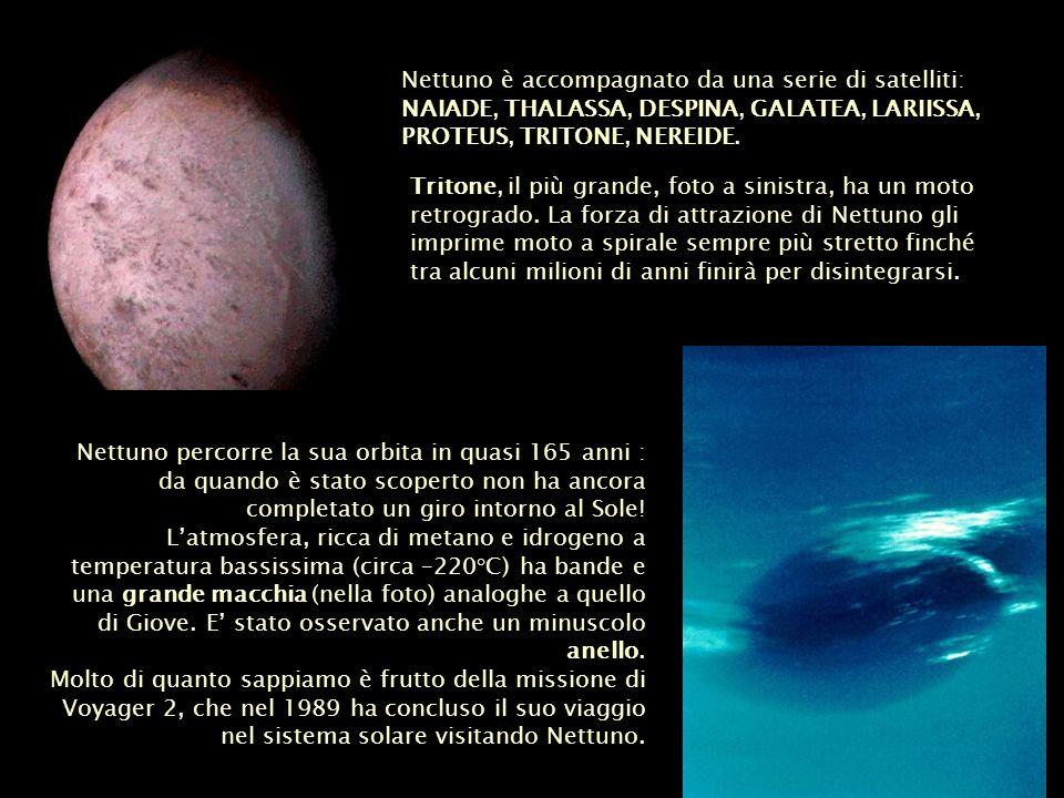 Nettuno è accompagnato da una serie di satelliti: NAIADE, THALASSA, DESPINA, GALATEA, LARIISSA, PROTEUS, TRITONE, NEREIDE. Nettuno percorre la sua orb