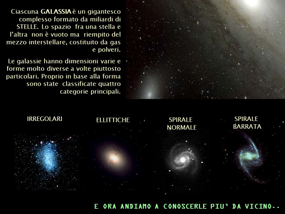 Ciascuna GALASSIA è un gigantesco complesso formato da miliardi di STELLE. Lo spazio fra una stella e laltra non è vuoto ma riempito del mezzo interst