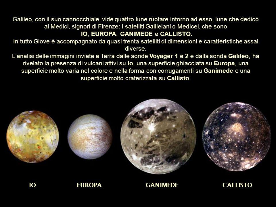 Galileo, con il suo cannocchiale, vide quattro lune ruotare intorno ad esso, lune che dedicò ai Medici, signori di Firenze: i satelliti Galileiani o M