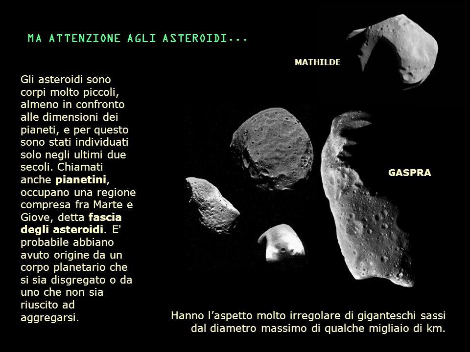 MA ATTENZIONE AGLI ASTEROIDI... Gli asteroidi sono corpi molto piccoli, almeno in confronto alle dimensioni dei pianeti, e per questo sono stati indiv