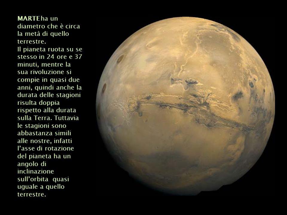 MARTE ha un diametro che è circa la metà di quello terrestre. Il pianeta ruota su se stesso in 24 ore e 37 minuti, mentre la sua rivoluzione si compie